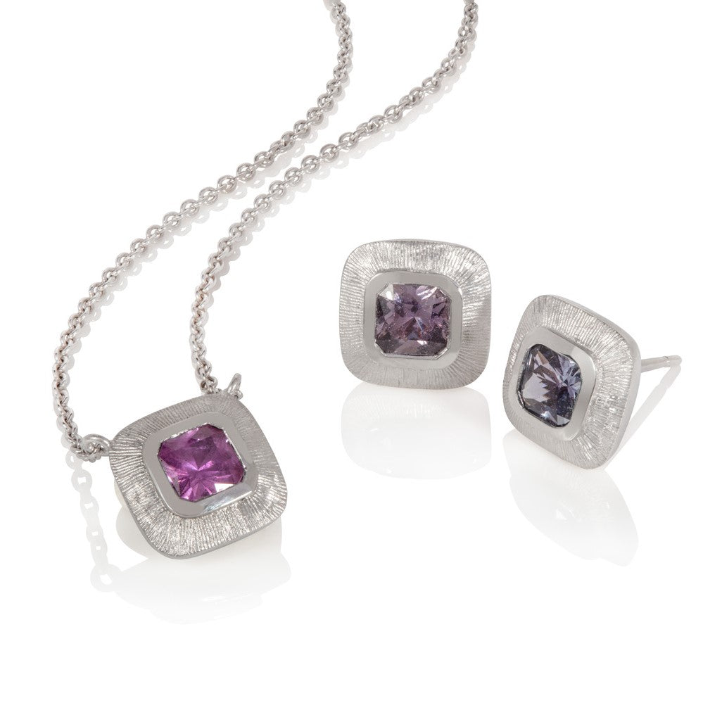 Pink sapphire & white gold necklace
