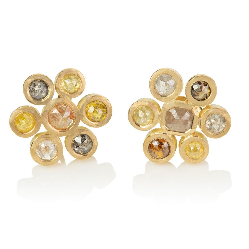 Stud earrings set with rose cut multi-coloured diamonds in flower motif
