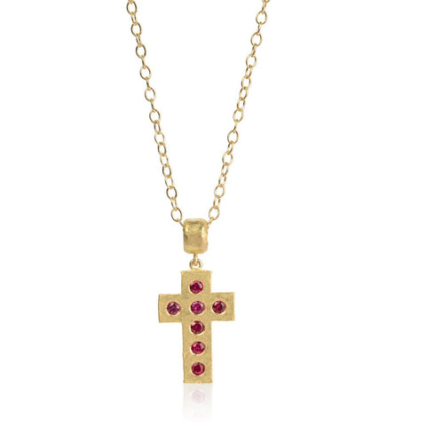 Gold Beaten Cross with Sapphires