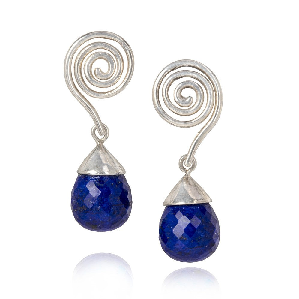 Silver swirl drop earrings with lapis lazuli briolette drop