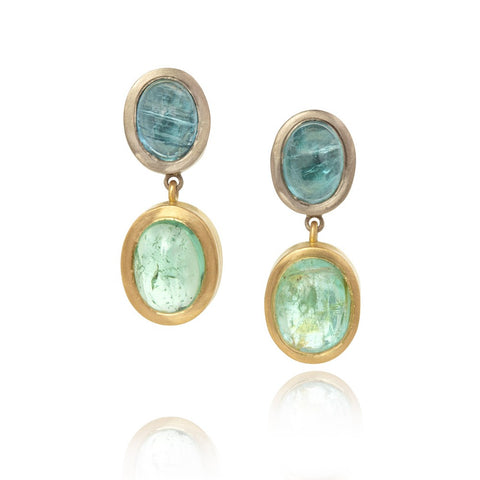 Blue cabochon Paraiba tourmalines, set in white gold, with green cabochon paraiba tourmaline drops set in yellow gold