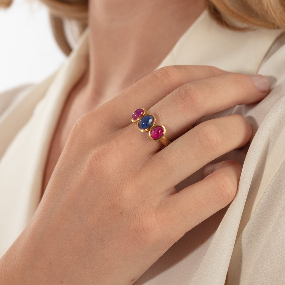 Sapphire And Ruby Three Stone Ring