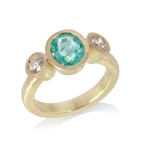 Three Stone Paraiba and Diamond Ring