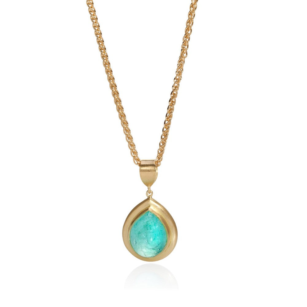 Pear Shaped Paraiba Cabochon Pendant