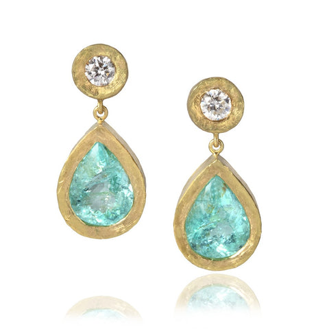 Paraiba Tourmaline and Diamond Drop Earrings (Large)