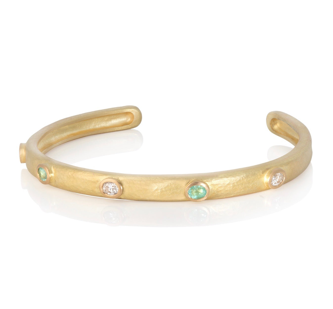 18ct yellow gold bangle with diamonds and paraiba tourmalines