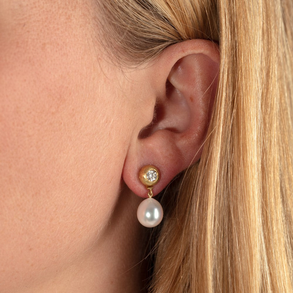Diamond Pebble Earrings with Pearl Drops