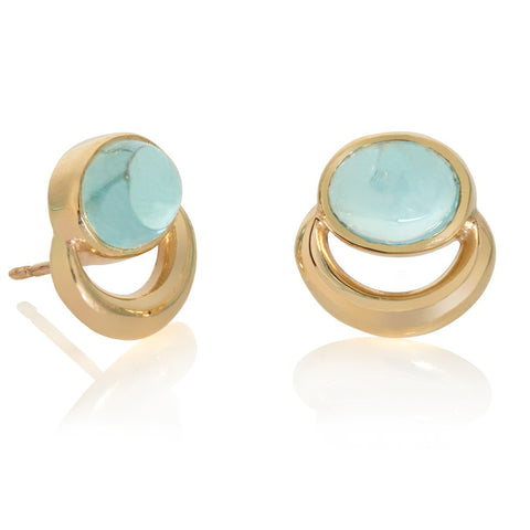 9ct Gold Aquamarine Bull Ring Earrings