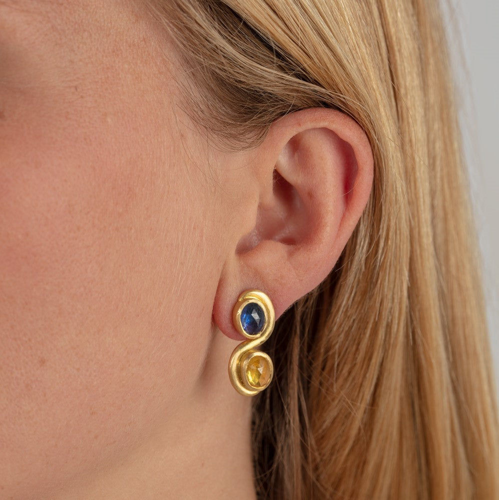 Blue and Yellow Sapphire Swirl Earrings