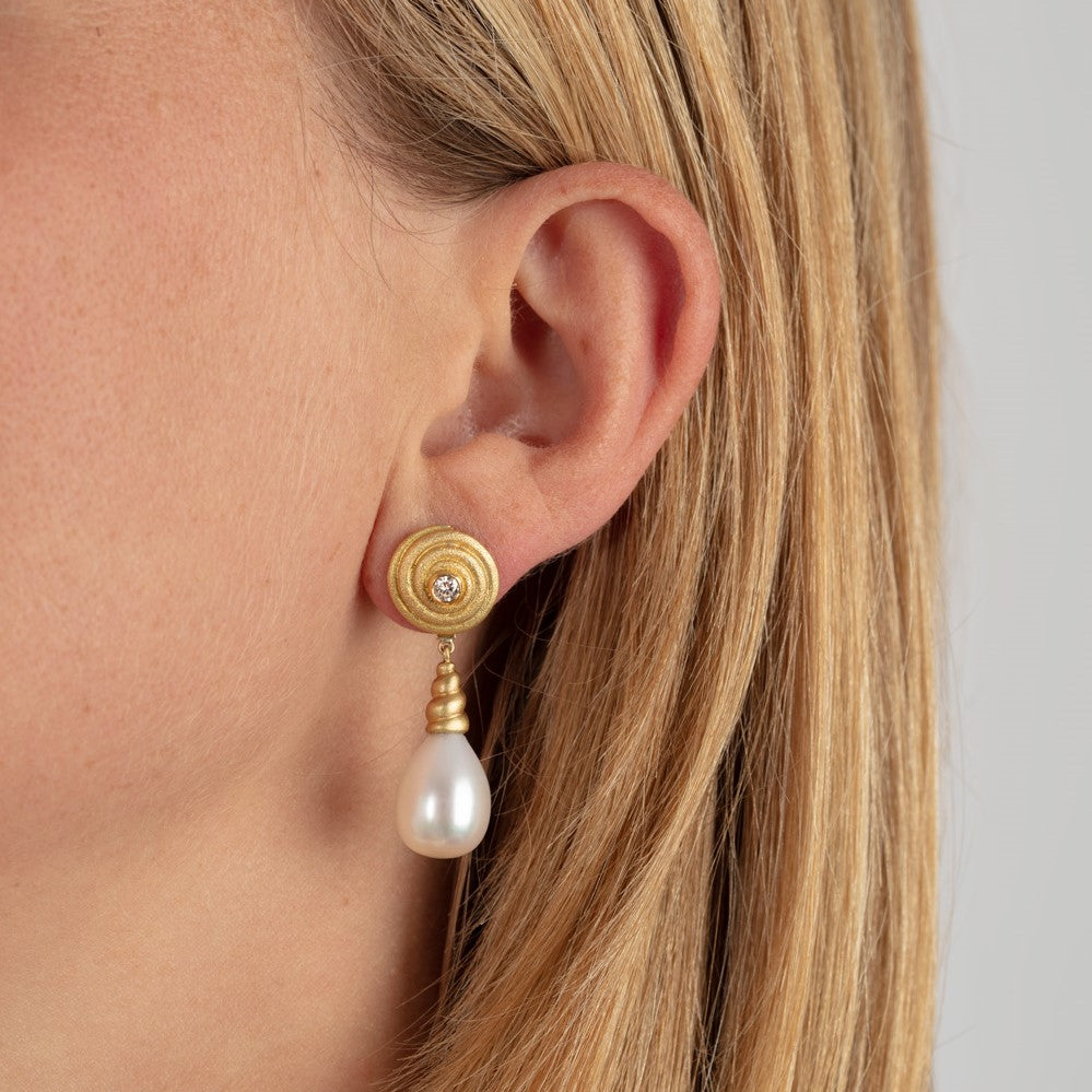 Diamond & Pearl Swirl Drop Earrings