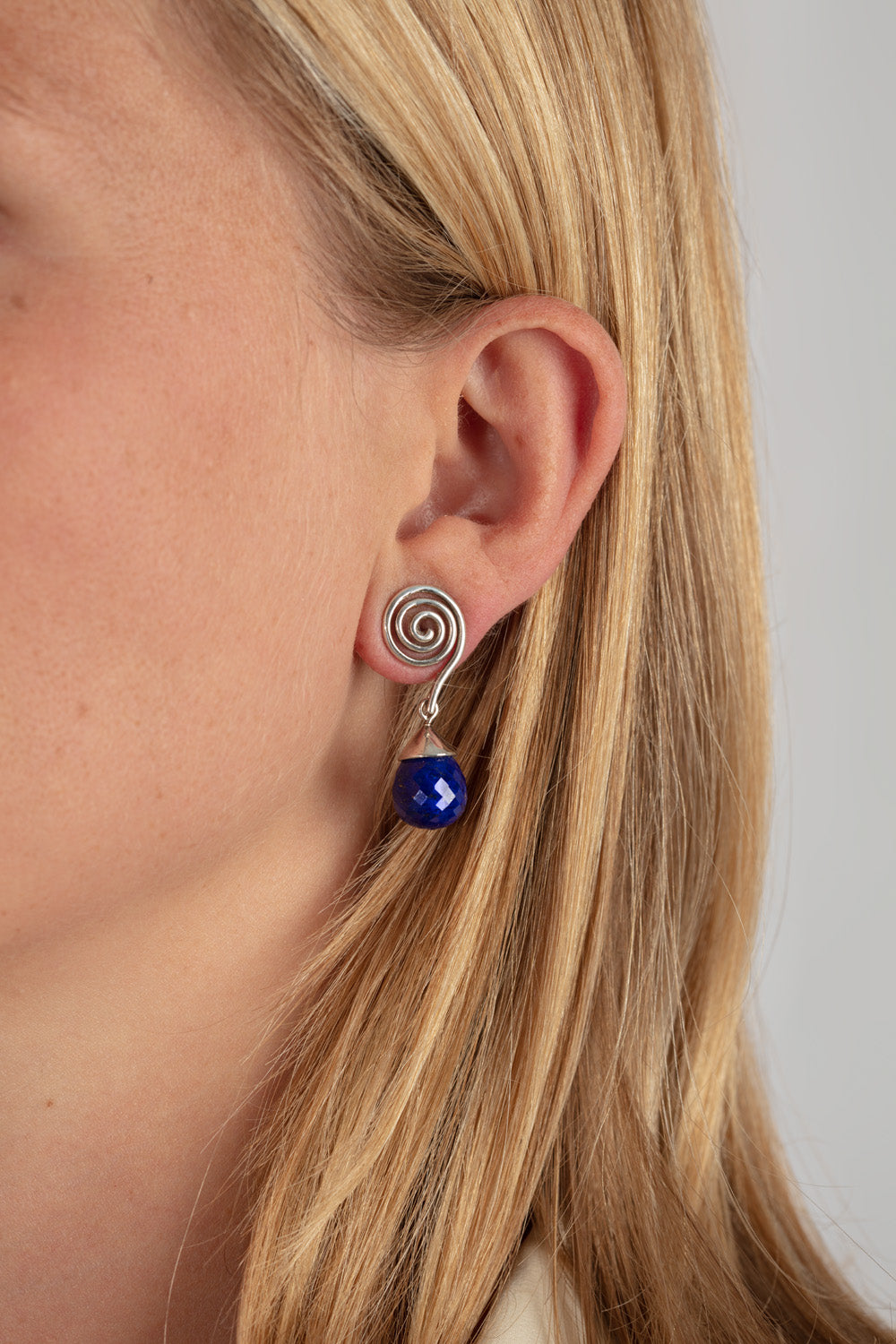 Silver and Lapis Lazuli Swirl Earrings
