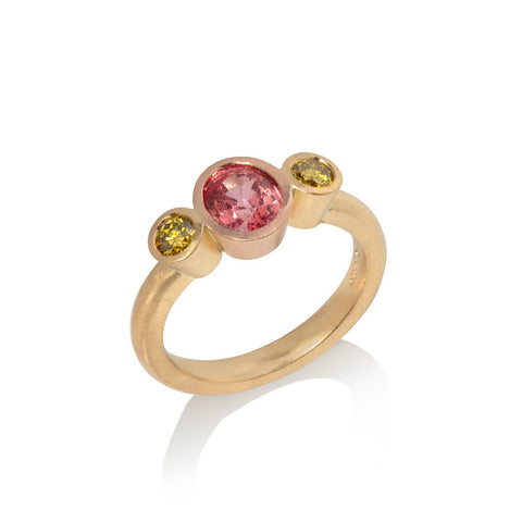 Padparadscha Sapphire and Yellow Diamond Ring
