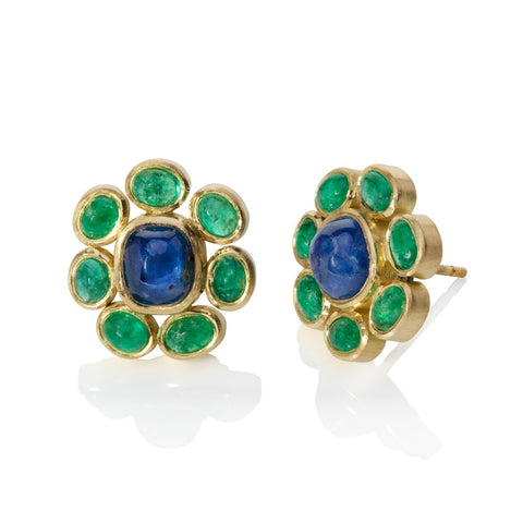 Emerald and Sapphire Cluster Earrings