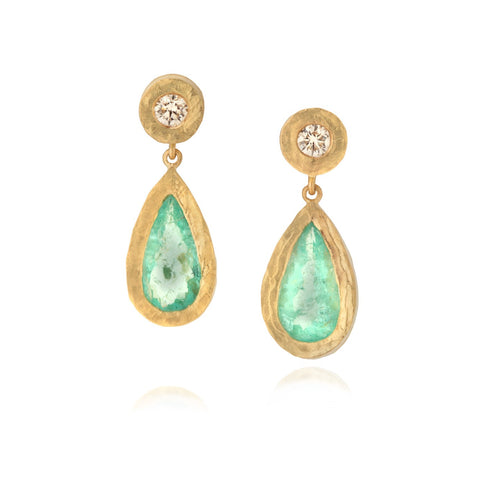 Paraiba Tourmaline and diamond drop earrings set in 18ct yellow gold