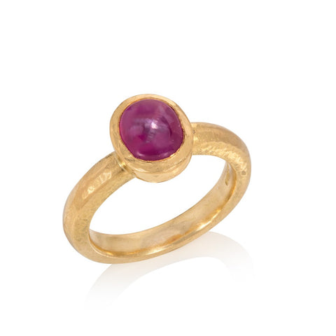 Red Sapphire Ring with Decorative Scrolls