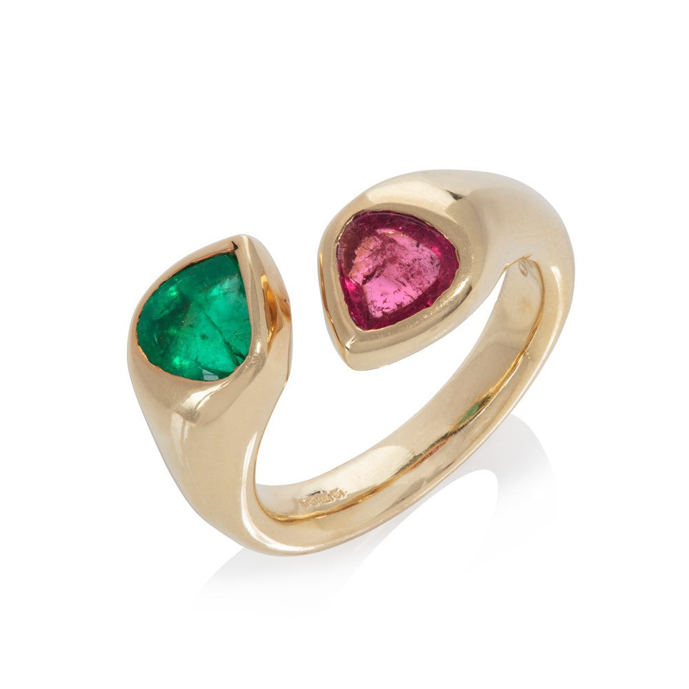 Pink Tourmaline & Emerald Snake Ring