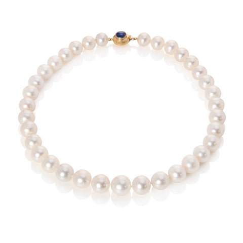South Sea Pearl necklace on white background with blue sapphire clasp