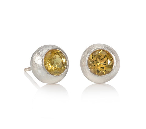 Yellow Tourmaline and 9ct White Gold Pebble Studs
