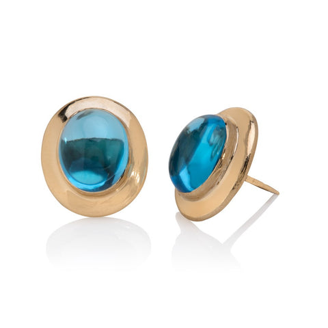 Yellow gold oval stud earrings, set with blue topaz cabochons