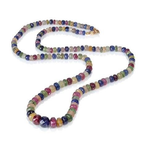 Multi-coloured Sapphire Bead Necklace
