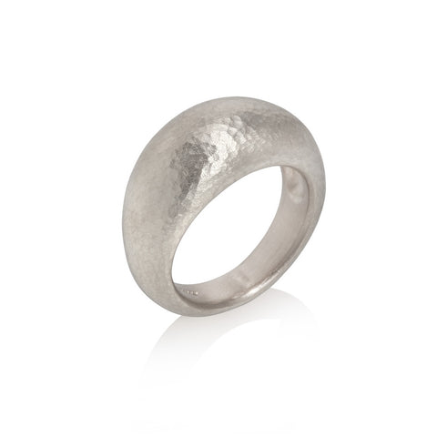 Hammered Texture Yellow Gold Ring