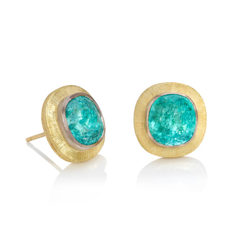 Cushion Shaped Paraiba Tourmaline Stud Earrings