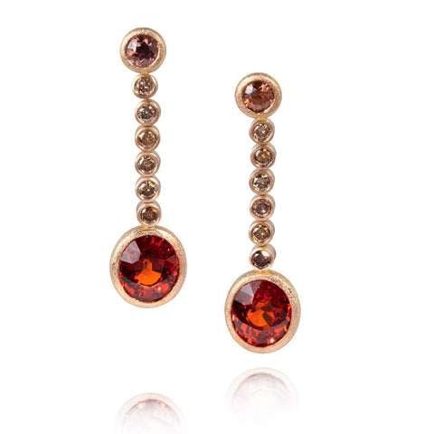 Beaten Gold Ruby Drop Earrings