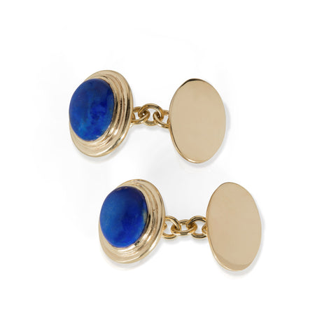 Yellow gold cufflinks with chain link fitting set with lapis lazuli