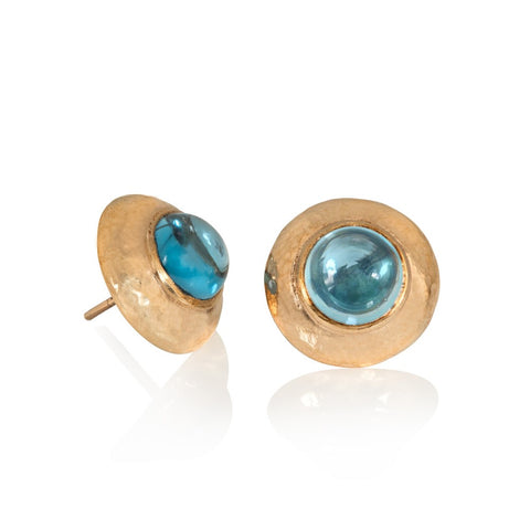 Yellow gold stud earrings with hammered texture studs set with blue topaz cabochons
