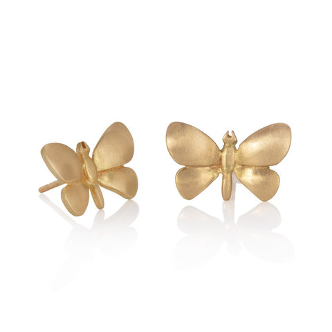 Yellow gold butterfly stud earrings