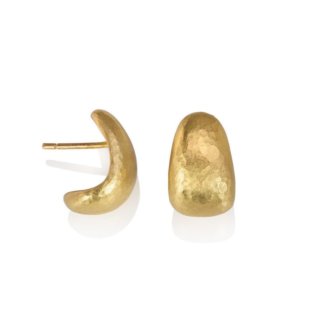 Hammered texture yellow gold half hoop earrings