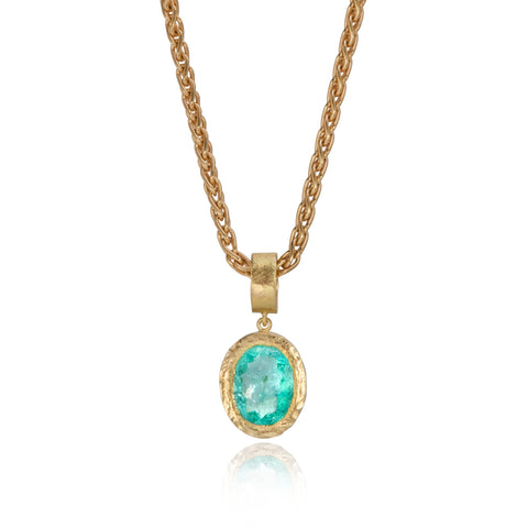 Pear Shaped Paraiba Tourmaline & Diamond Pendant