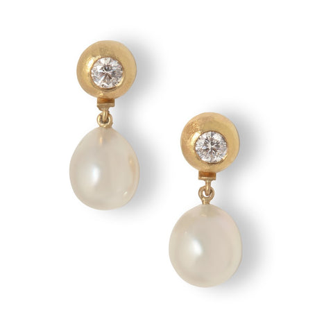 Diamond Pebble Earrings with Detachable Pearl Drops