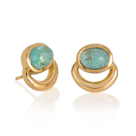 Stud earrings with aquamarine cabochons set in yellow gold in JLG bull ring design