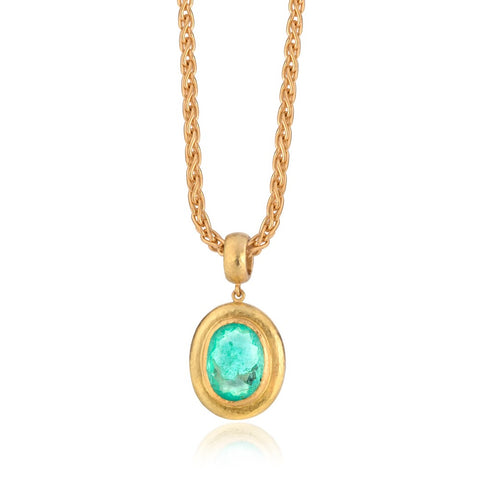 Oval Paraiba tourmaline pendant with heavy chain