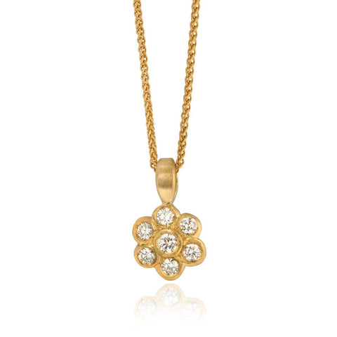 Gold Beaten Cross Pendant with Diamonds