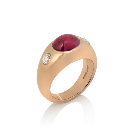 Ruby and Diamond Three Stone Ring