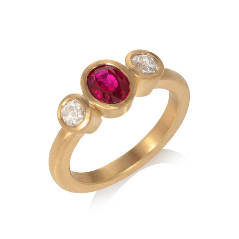 Three Stone Ruby & Diamond Gold Ring