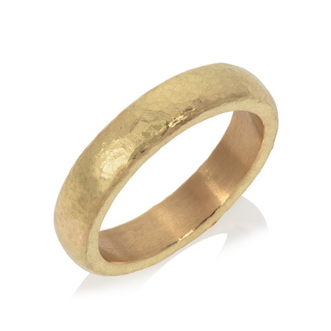 18ct yellow gold beaten stacking ring pictured on white background