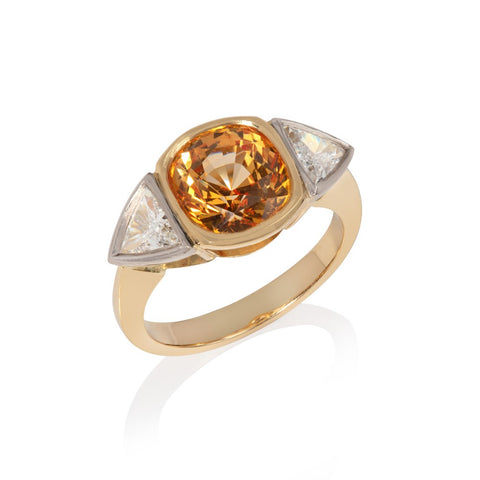 Yellow Sapphire & Diamond Three Stone Ring