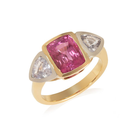 Pink and Lilac Sapphire Three Stone Ring
