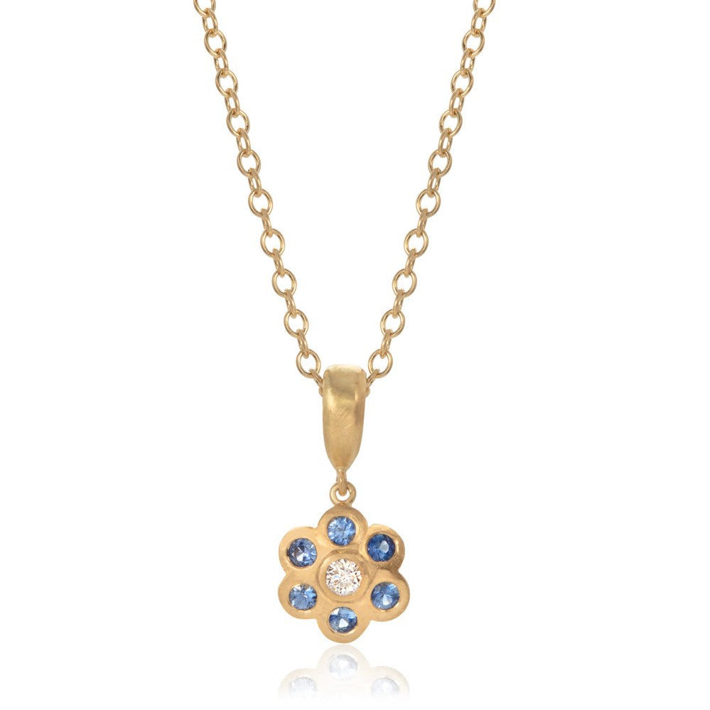 """Forget Me Not"" Sapphire and Diamond Pendant"