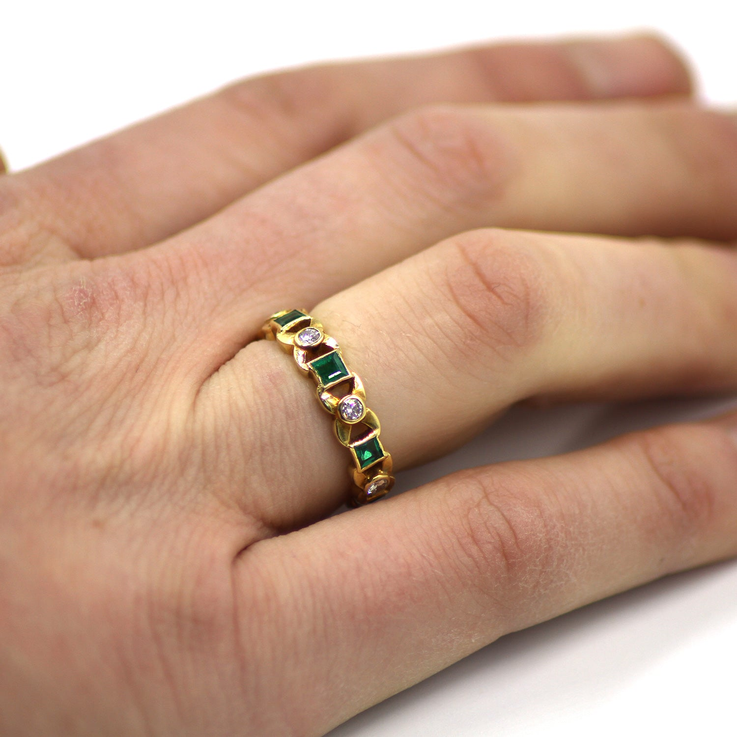 Emerald and Diamond 'Kisses' Eternity Ring