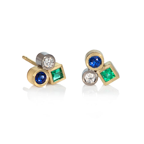 Miniature Sapphire, Emerald and Diamond Cluster Earrings