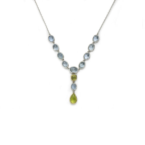 Aquamarine & Peridot Cabochon Necklace