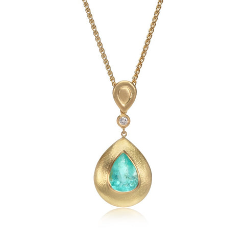 Multi-Stone Pebble Gold Pendant