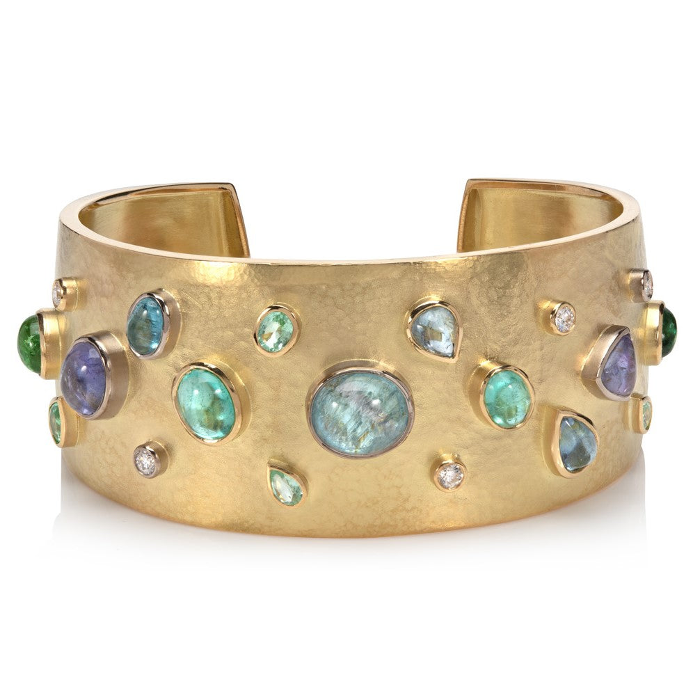 18ct yellow gold cuff bangle set with paraiba tourmalines and diamonds