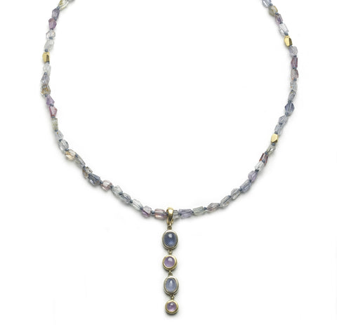 Sapphire Bead Necklace with Detachable Drop Pendant