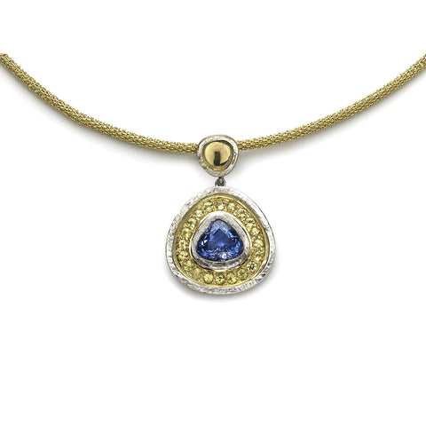 Blue & Yellow Sapphire Pendant Necklace