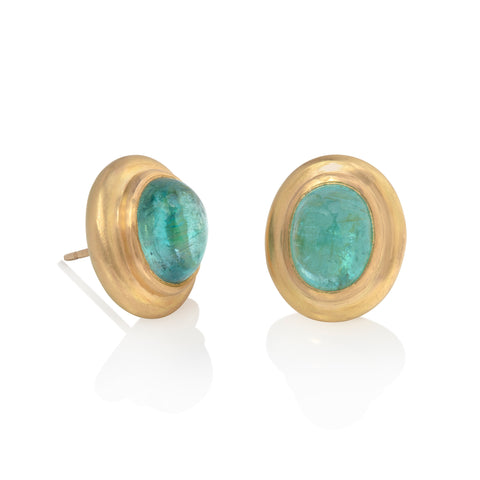 Oval Paraiba Tourmaline Stud Earrings
